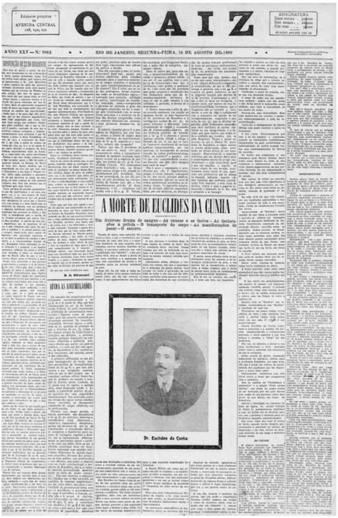 """No dia seguinte à morte de Euclides da Cunha, a imprensa da época noticiou 'o doloroso drama de sangue' e o choque com a perda do célebre escritor. Capa de """"O Pais"""" de 16 de agosto de 1916 — Foto: Fundação Biblioteca Nacional/ BN Digital"""