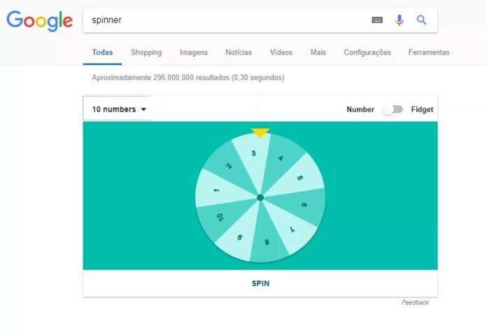Roleta para sorteios é aberta direto no navegador do Google — Foto: Reprodução/Rodrigo Fernandes