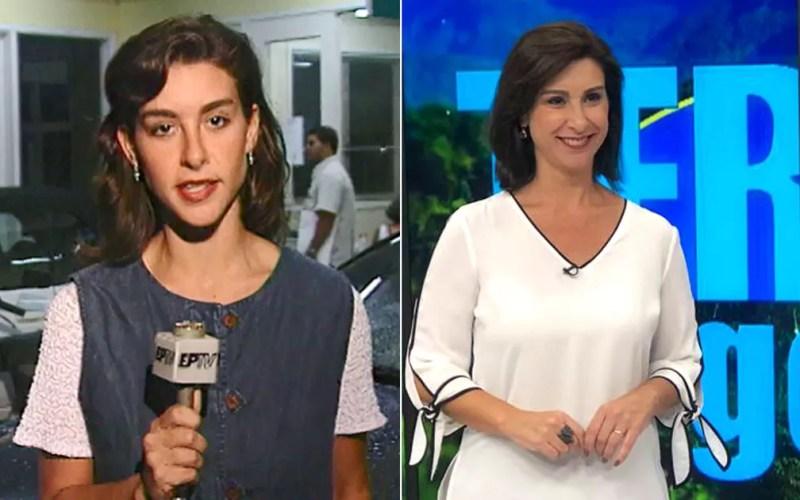 Daniela Lemos como repórter na EPTV e na apresentação do Terra da Gente. — Foto: Arte/G1