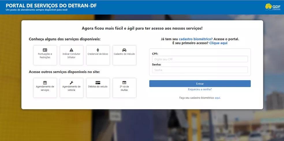 Portal de Serviços online do Detran-DF — Foto: Divulgação/Detran-DF