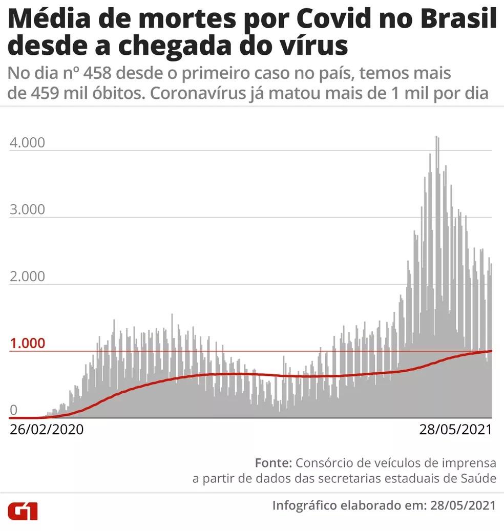 Desde o primeiro caso de Covid registrado no país, o novo coronavírus já matou em média agora mais de 1 mil por dia — Foto: Editoria de Arte/G1