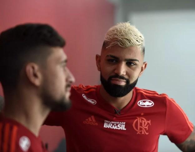 Gabigol e Arrascaeta Flamengo — Foto: André Durão