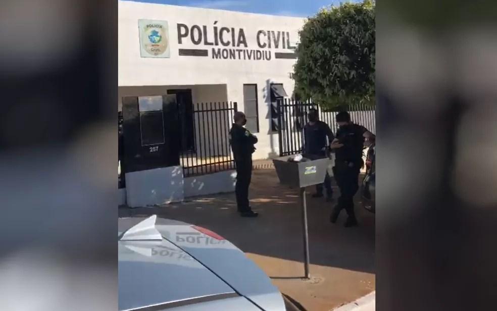Delegacia de Polícia Civil de Montividiu, onde adolescentes foram levados — Foto: Reprodução/TV Anhanguera
