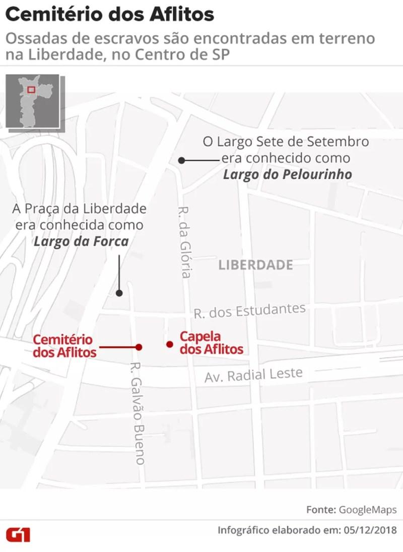 Mapa mostra local onde ficava o Cemitério dos Aflitos onde foram encontradas as ossadas — Foto: Arte/G1