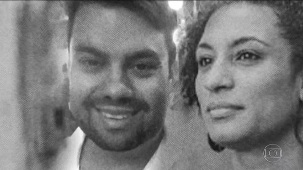 Marielle Franco e Anderson Gomes foram mortos em 14 de março de 2018 — Foto: Reprodução/JN