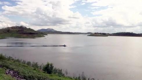 Açude Boqueirão saiu de nível crítico desde a chegada das águas da transposição do São Francisco, há um ano (Foto: Reprodução/TV Paraíba)