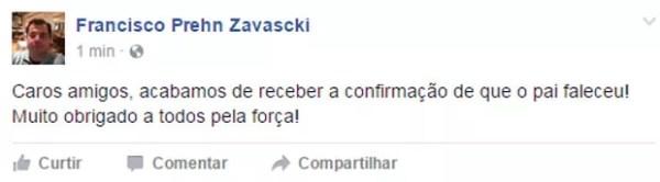 Filho de Teori Zavascki, Francisco Prehn Zavascki, confirma no Facebook que ministro morreu no acidente do avião que caiu em Paraty (Foto: Reprodução/Facebook/Francisco Prehn Zavascki)
