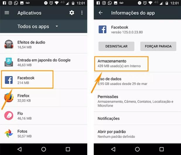 Acesse o armazenamento do aplicativo no Android (Foto: Foto: Reprodução/Barbara Mannara)