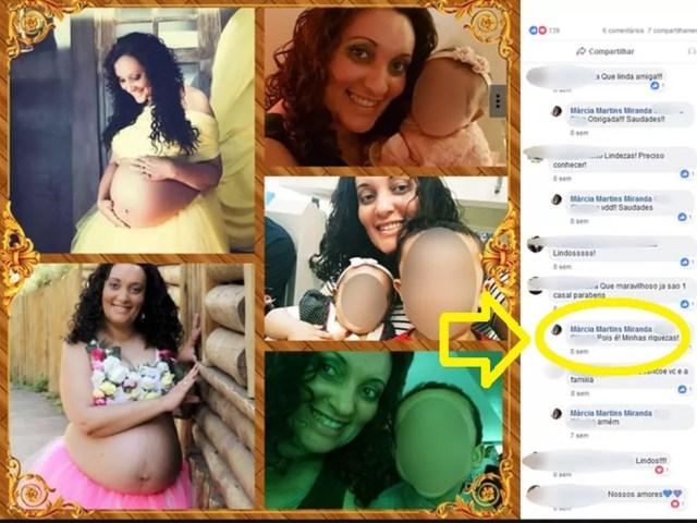 """Márcia Martins escreveu """"minhas riquezas"""" ao responder comentário sobre os dois filhos na rede social — Foto: Reprodução/Facebook"""