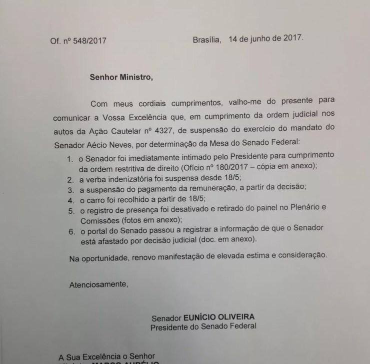 Ofício do presidente do Senado, Eunício Oliveira, enviado ao ministro Marco Aurélio Mello, sobre a situação do senador Aécio Neves (Foto: Reprodução/Senado)