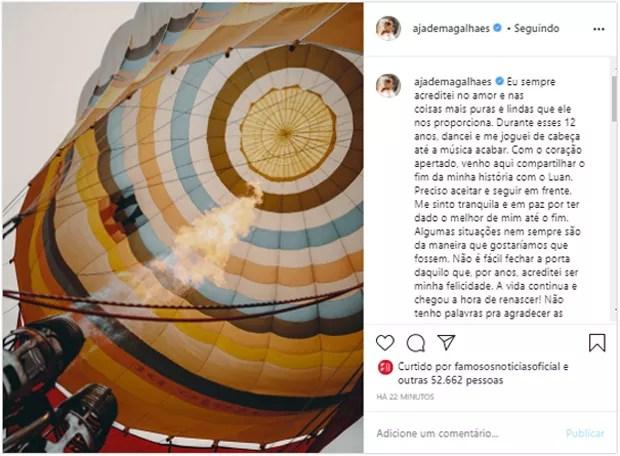Publicação de Jade Magalhães (Foto: Reprodução/Instagram)