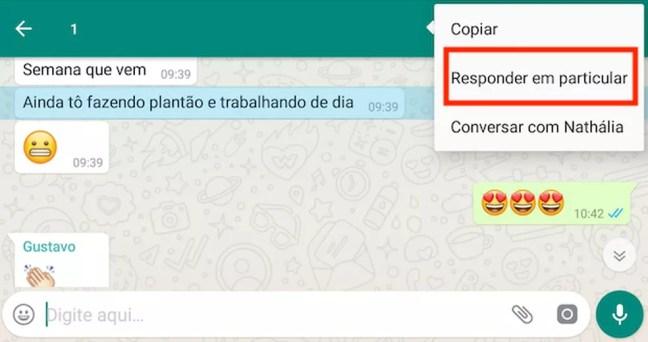 """Função """"responder em particular"""", do WhatsApp — Foto: Reprodução"""
