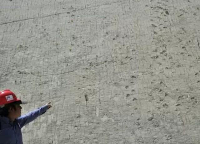 Turista observa pegadas de dinossauros no morro Cal Orcko, em Sucre, na Bolívia (Foto: AFP Photo/Aizar Raldes)