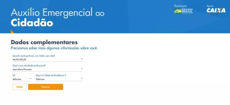 Página de cadastramento para o programa de auxílio emergencial no site da Caixa — Foto: Reprodução