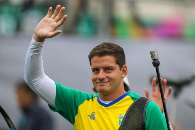 Marcus Vinicius D'Almeida tiro com arco Pan de Lima prata — Foto: Abelardo Mendes Jr/ rededoesporte.gov.br