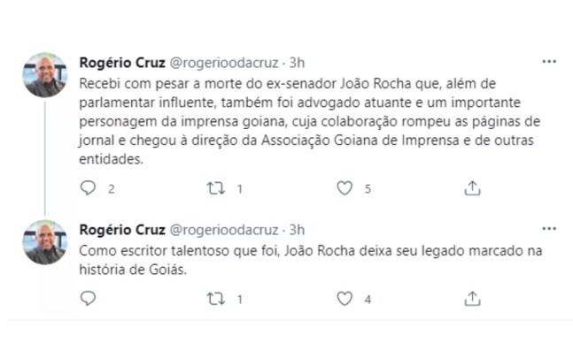 Prefeito de Goiânia lamenta a morte de João Rocha, em Goiânia — Foto: Reprodução/Twitter