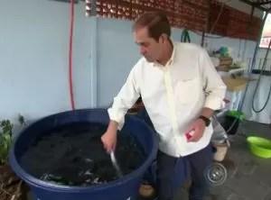 Reuso da água da chuva tem gerado economia nas contas (Foto: Reprodução/TV TEM)