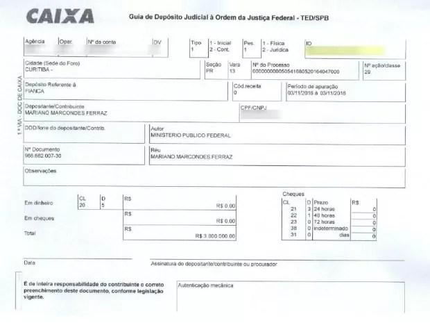 Comprovante mostra o depósito de R$ 3.000.000,00 de fiança (Foto: Reprodução)