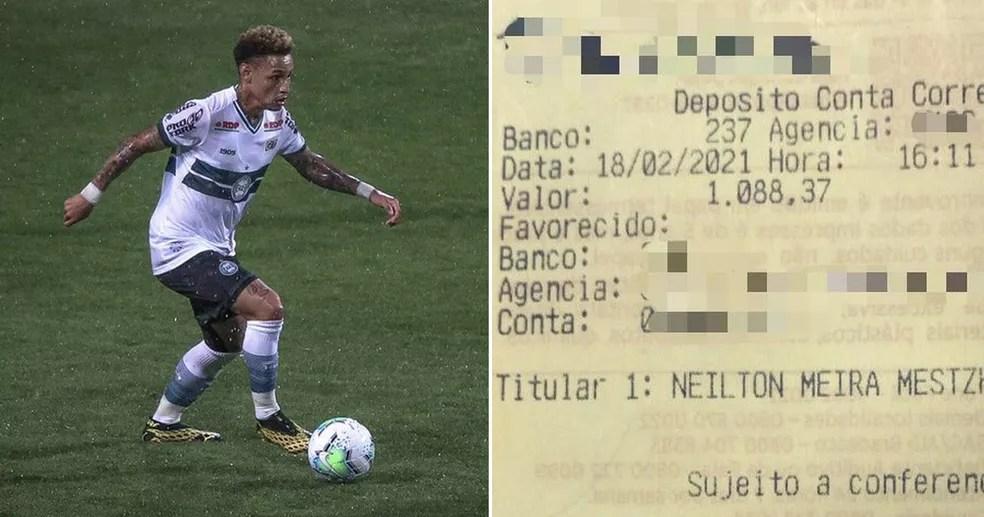 Dinheiro acabou sendo depositado na conta do jogador Neilton — Foto: Pedro de Campos Leal/Arquivo pessoal