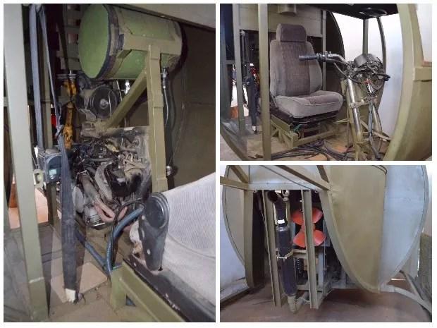 Motor da aeronave (à esq.), cabine montada com guidom de moto (à dir., acima) e motor da aeronava visto de trás (à dir., abaixo), Nepomuceno (Foto: Samantha Silva/G1)