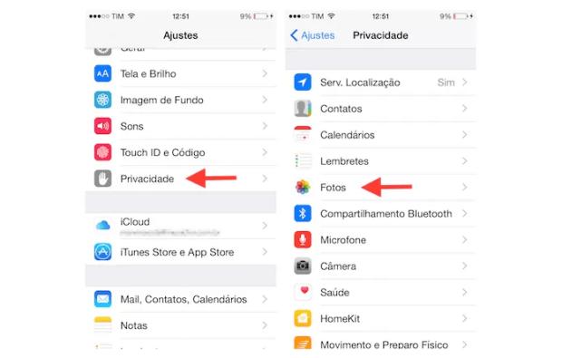 Acessando as configurações de privacidade para fotos do iPhone