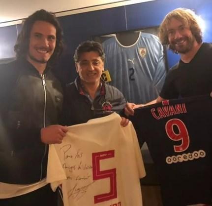 Lugano e Cavani trocam camisas do São Paulo e do Paris Saint-Germain  — Foto: Reprodução Instagram