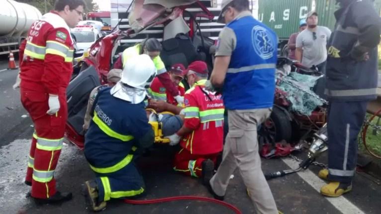 Homens do Corpo de Bombeiros e da concessionária fizeram o resgate que durou quase duas horas — Foto: Fábio Ângelo/RPC