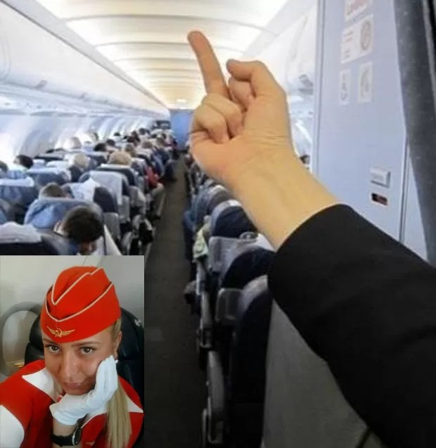 Aeromoça foi demitida após foto que mostra dedo médio apontado a passageiros se espalhar pela rede (Foto: Reprodução)