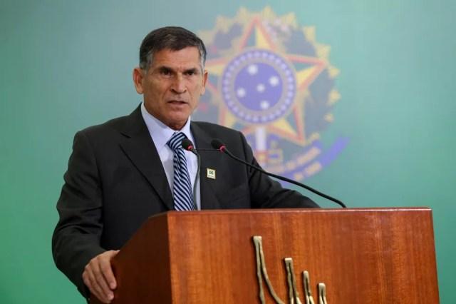 O ministro da Secretaria de Governo, Santos Cruz, durante cerimônia no Palácio do Planalto — Foto: Marcos Corrêa/Presidência da República