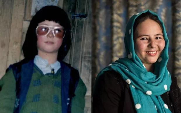 Zahra como 'Mohammed' (à esq) e ela hoje (à dir) (Foto: Arquivo Pessoal/Joel van Houdt)