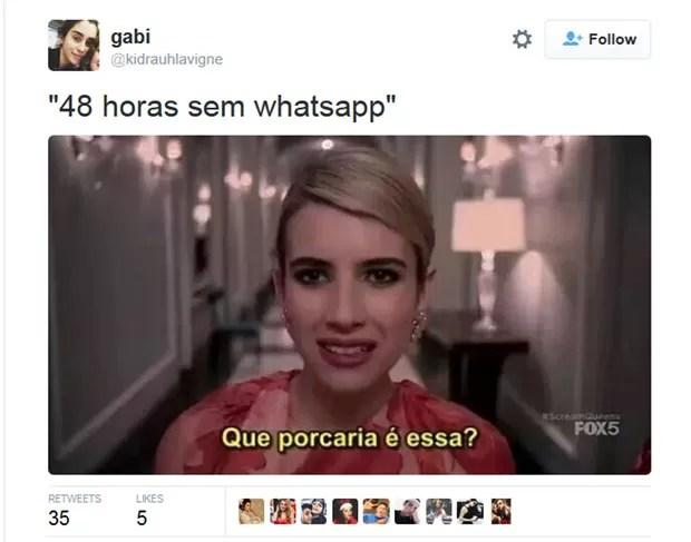 Meme no Twitter usa imagem da atriz Emma Roberts para brincar com saída do ar do WhatsApp