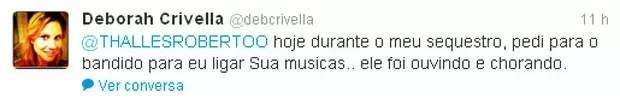Deborah Crivella conta em rede social que bandido chorou ao ouvir música do cantor gospel Thalles Roberto  (Foto: Reprodução/Twitter)