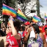 Bandeiras LGBT foram erguidas durante protesto. (Foto: Sara Antunes/G1)