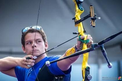 Marcus Vinícius D´Almeida na etapa da Copa do Mundo de tiro com arco em Medellín (Foto:  Divulgação/World Archery)