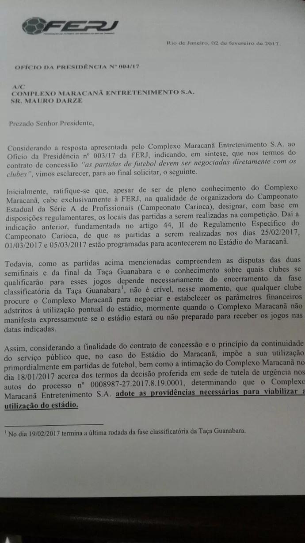 Ofício Ferj concessionária Maracanã (Foto: Reprodução)