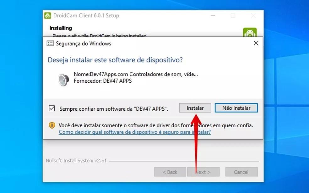 Confirme a instação do driver da webcam virtual — Foto: Reprodução/Helito Beggiora
