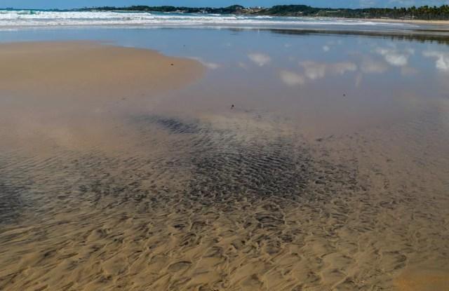 Mancha de óleo é vista na Praia do Paiva, em Cabo de Santo Agostinho, Pernambuco — Foto: Diego Nigro/Reuters