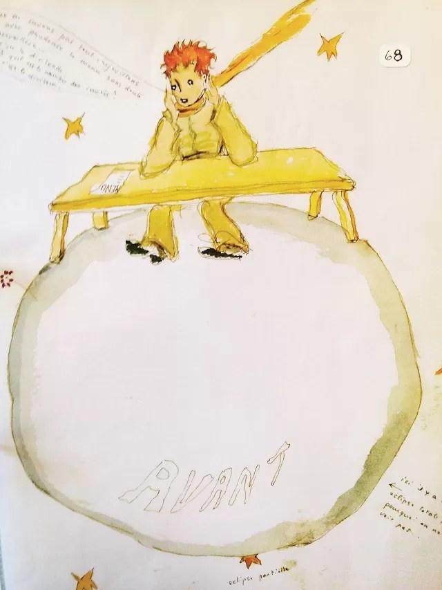 Aquarela original desenhada pelo autor de O Pequeno Príncipe em 1943.