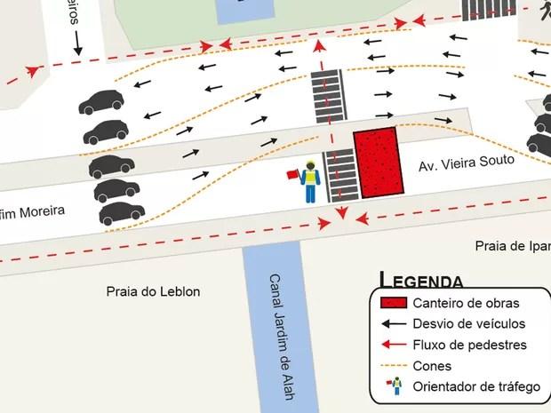 Vieira Souto tem alterações no trânsito neste sábado (Foto: Divulgação/Linha 4 do Metrô)