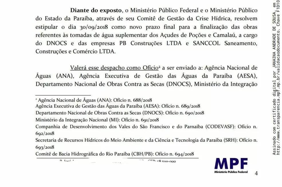 MPF recomenda que a conclusão das obras aconteça até o dia 30 de setembro (Foto: MPF/Reprodução)