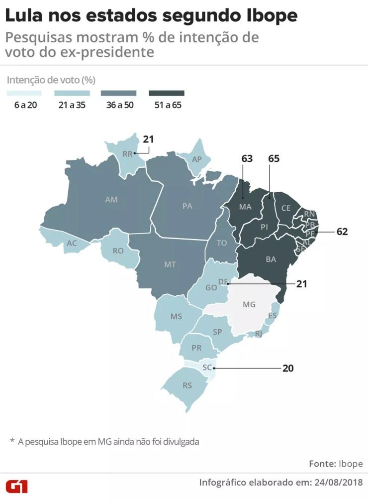 Pesquisas mostram % de intenção de voto em Lula (Foto: Igor Estrella/G1)