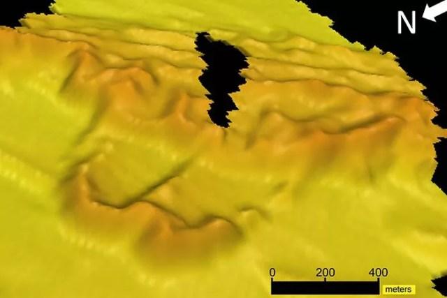 147/5000 Essas imagens coletadas usando sonar revelaram a forma e a extensão do trecho de dunas de 70 quilômetros. (Foto: Tiago Passos / University of Sydney)