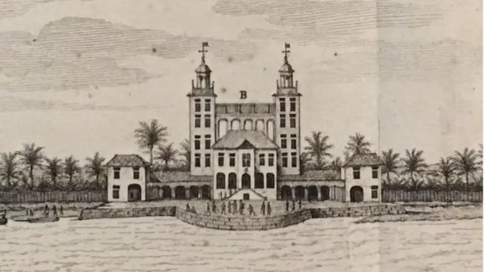 Palácio de Friburgo, construído Maurício de Nassau entre 1640 e 1642, foi demolido no século 18 — Foto: WIKICOMMONS/BBC