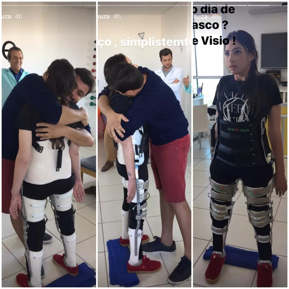 Com a ajuda de estabilizador, Lais Souza fica de pé e recebe abraço emocionado