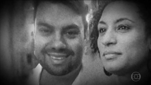 Marielle Franco e Anderson Gomes assassinados em março deste ano, no Rio de Janeiro — Foto: Reprodução/JN