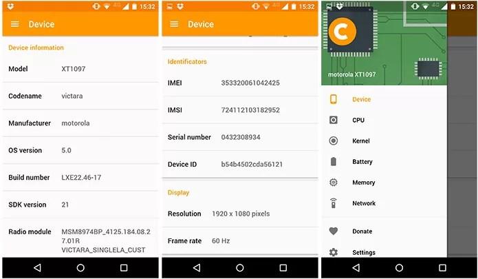 App traz detalhes do hardware do smartphone com Android (Foto: Reprodução)