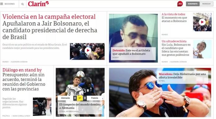 Argentino 'Clarín' dedicou manchete ao caso (Foto: Reprodução/Clarín)