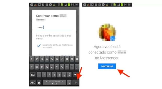 Acessando uma segunda conta do Facebook Messenger no Android (Foto: Reprodução/Marvin Costa)