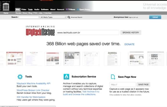 Buscando versões antigas de um site na internet com o Internet Archive Wayback Machine (Foto: Reprodução/Marvin Costa) (Foto: Buscando versões antigas de um site na internet com o Internet Archive Wayback Machine (Foto: Reprodução/Marvin Costa))