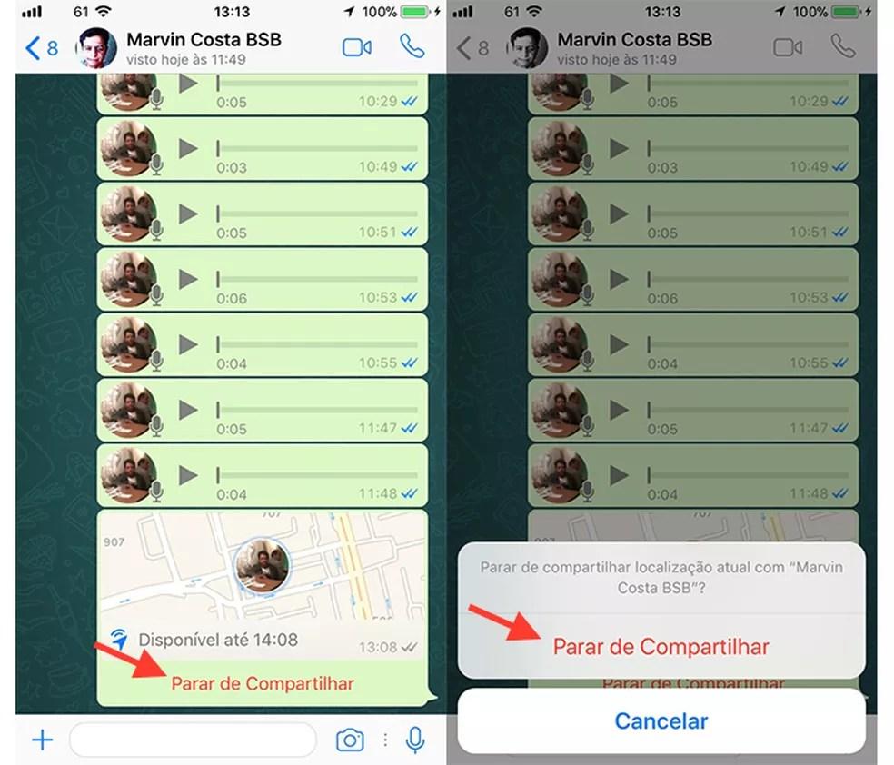 Opção para parar o compartilhamento em tempo real no chat do WhatsApp (Foto: Reprodução/Marvin Costa)